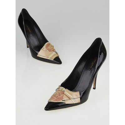 Louis Vuitton Black Patent Leather Crepe Collage Flower Pumps Size 10.5/41