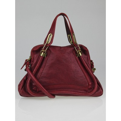 Chloe Raspberry Pebbled Leather Medium Paraty Bag