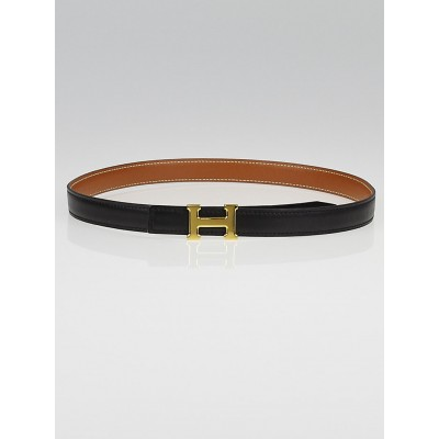 Hermes 18mm Black Box/Gold Courchevel Leather Gold Plated Constance H Belt Size 68