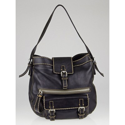 Chloe Navy Blue Leather Edith Hobo Bag