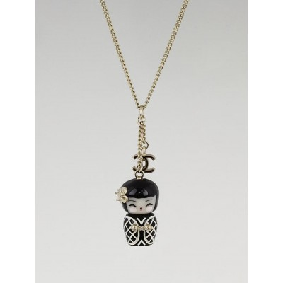 Chanel Black Resin China Doll Drop Pendant Necklace