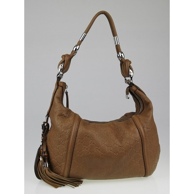 Gucci Tan Guccissima Leather Techno Horsebit Medium Hobo Bag