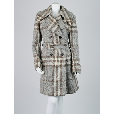 Burberry London Grey Novaplaid Check Wool Blackheath Belted Trench Coat Size 14