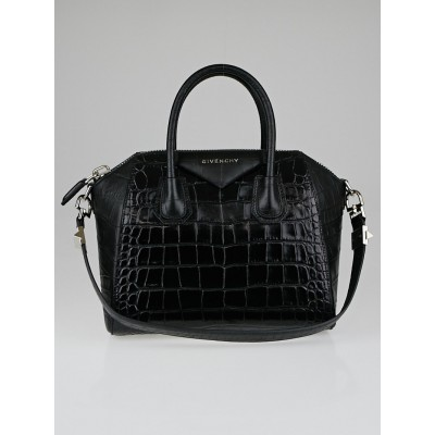 Givenchy Black Crocodile Stamped Leather Small Antigona Bag