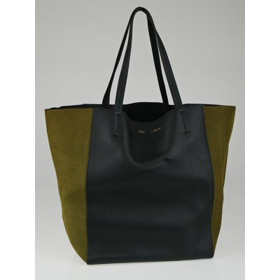 Celine Black/Khaki Calfskin/Nubuck Leather Bi-Color Medium Phantom Cabas Tote Bag