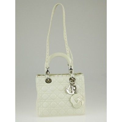 Christian Dior Ivory Cannage Quilted Lambskin Leather Ruffle Trim Medium Lady Dior Bag