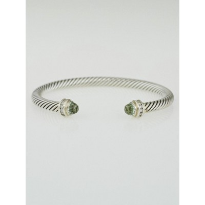 David Yurman 5mm Prasiolite and Diamond Cable Princess Bracelet