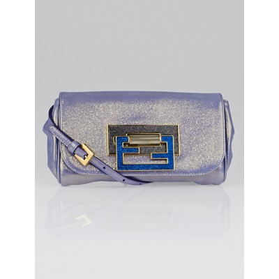 Fendi Blu Cobalt Sequin Leather Fan di Small Shoulder Bag 8BP057
