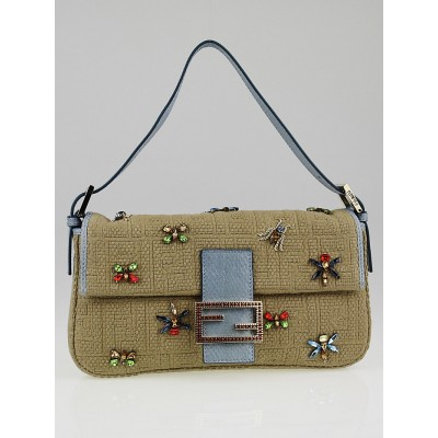 Fendi Beige Zucca Raffia Fabric and Beaded Baguette Bag 8BR600