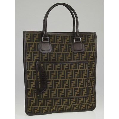Fendi Tobacco Zucca Canvas Tall Tote Bag