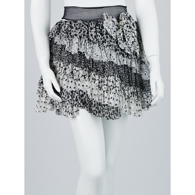 Dolce & Gabbana Black/White Floral Tiered Silk Skirt Size 4/38