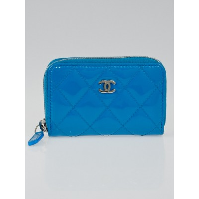 Chanel Blue Quilted Patent Leather O-Zip Coin Purse