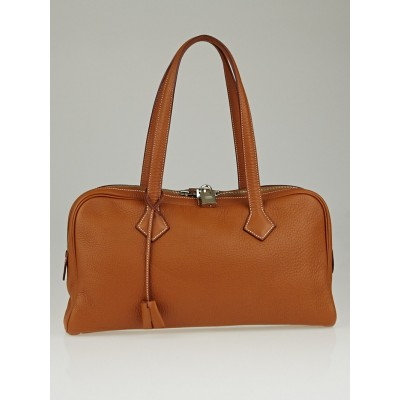 Hermes 38cm Gold Clemence Leather Victoria Elan Bag