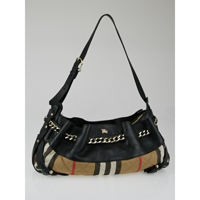 Burberry Black Leather House Check Canvas Margaret Shoulder Bag