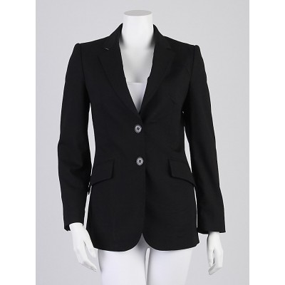Burberry Black Wool Blend Slim Fit Blazer Jacket Size 4