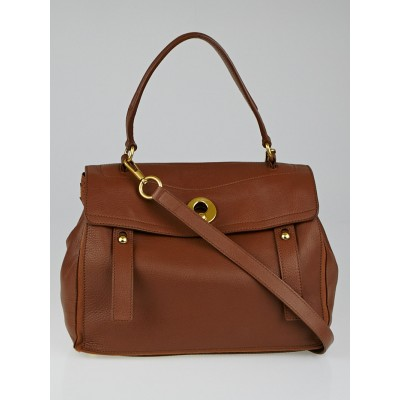 Yves Saint Laurent Cognac Leather/Canvas Muse Two Bag