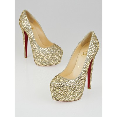 Christian Louboutin Goldtone Crystal Strass Daffodile 160 Pumps Size 4.5/35