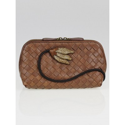 Bottega Veneta Brown Intrecciato Woven Nappa Leather Flower Cosmetic Case