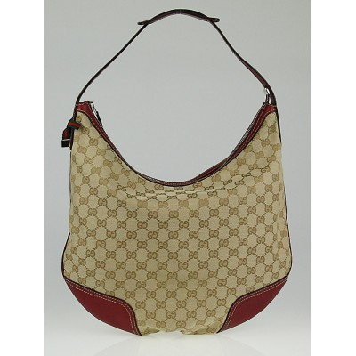 Gucci Beige/Red GG Canvas Princy Hobo Bag