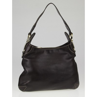 Gucci Brown Leather Horsebit Creole Hobo Bag