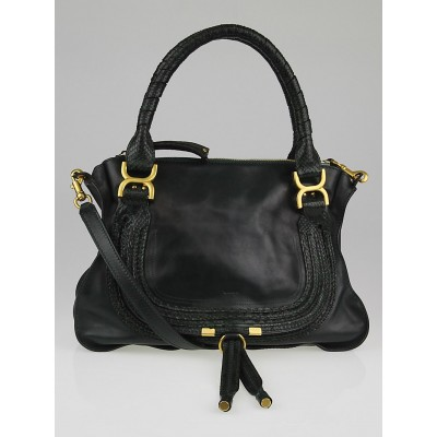 Chloe Green Leather and Python Trim Medium Marcie Satchel Bag