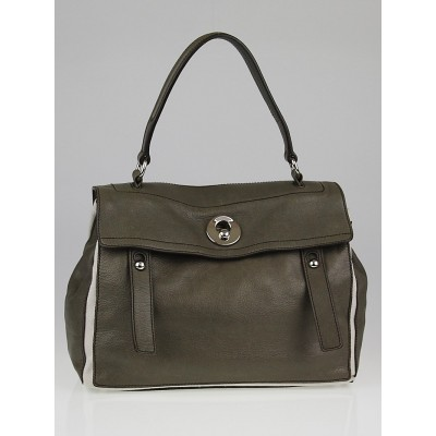 Yves Saint Laurent Grey Leather / White Canvas Medium Muse Two Bag