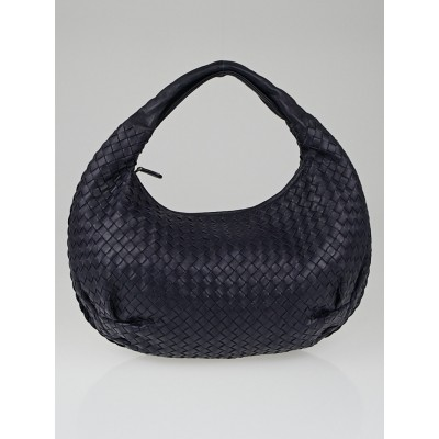 Bottega Veneta Ink Intrecciato Woven Nappa Leather Medium Belly Veneta Hobo Bag