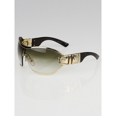 Gucci Gold Frame Buckle Shield Sunglasses - 2738