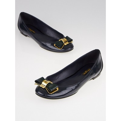 Louis Vuitton Teal Patent Leather Goldtone Metal Bow Flats Size 5/35.5