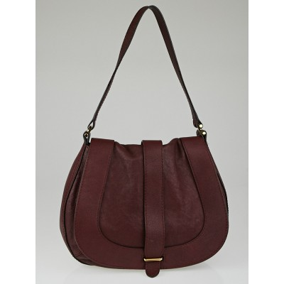 Chloe Burgundy Calfskin Leather Georgia Hobo Bag