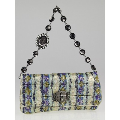 Miu Miu Navy Multicolor Lurex Cristal Pochette Clutch Bag