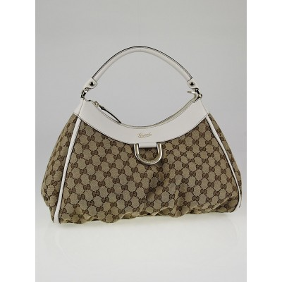 Gucci Beige/White GG Canvas Large D-Ring Hobo Bag