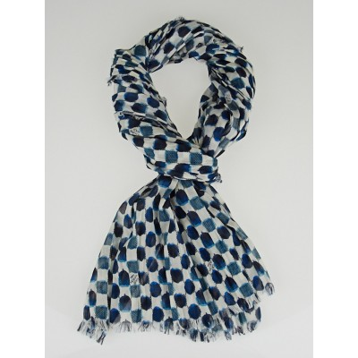 Louis Vuitton Blue/White Cotton Painted Damier Pareo Scarf