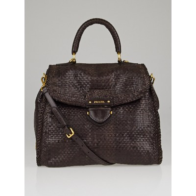 Prada Moro Woven Goatskin Leather Madras Bag BN2115