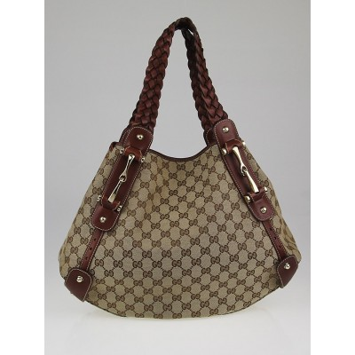 Gucci Beige/Brown GG Canvas Medium Pelham Shoulder Bag