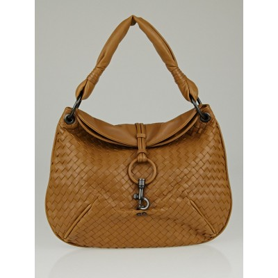 Bottega Veneta Noce Intrecciato Woven Leather Hobo Bag