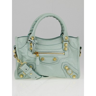 Balenciaga Vert Jade Lambskin Leather Giant 12 Gold Mini City Bag