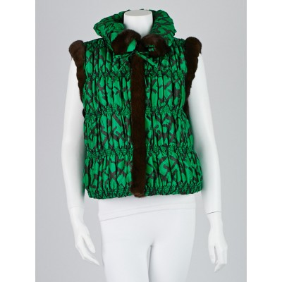 Oscar de la Renta Green Silk and Mink Vest Size XL
