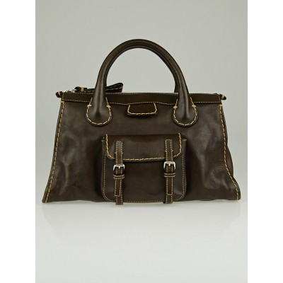 Chloe Chocolate Leather Edith Satchel Bag