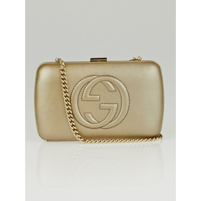 Gucci Gold Pebbled Calfskin Leather Soho Hard Case Clutch Bag