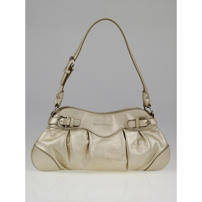 Salvatore Ferragamo Gold Leather Small Marisa Shoulder Bag