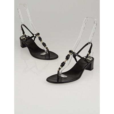 Gucci Black Patent Leather  Bamboo Chain Thong Sandals Size 8.5