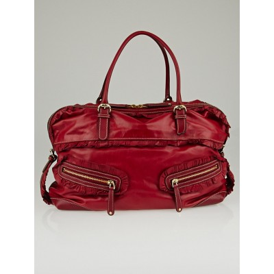 Gucci Red Leather Sabrina Medium Boston Bag