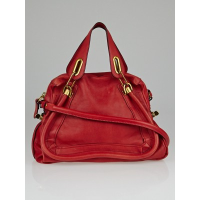 Chloe Terracotta Pebbled Calfskin Leather Medium Paraty Bag