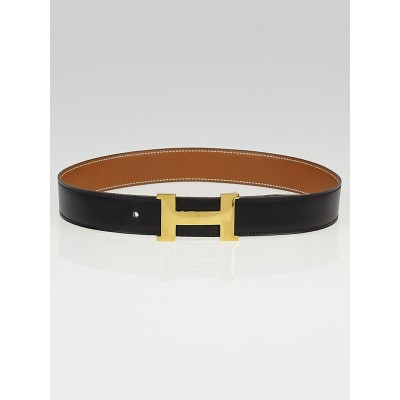 Hermes 30mm Black Box / Gold Courchevel Leather Gold Plated Constance H Belt Size 65