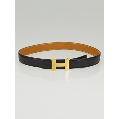 Hermes 24mm Black Clemence / Gold Barenia Leather Gold Plated Constance H Belt Size 65