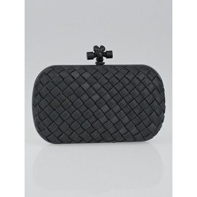 Bottega Veneta Gunmetal Mesh Intrecciato Woven Knot Clutch Bag