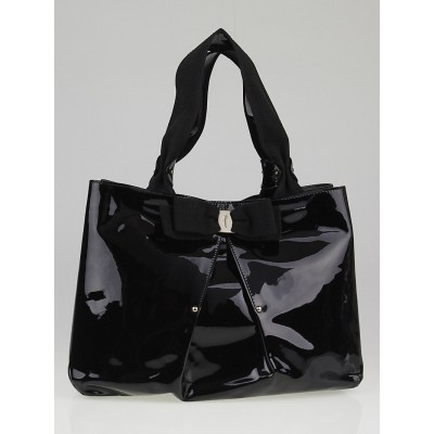 Salvatore Ferragamo Black Patent Leather Selene Tote Bag