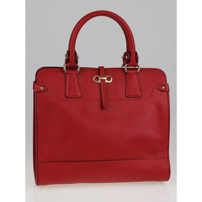 Salvatore Ferragamo Red Embossed Calf Leather Small Tote Bag