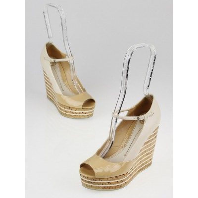 Gucci Beige/White Leather Peep Toe Charlotte Cork Wedges Size 5/35.5